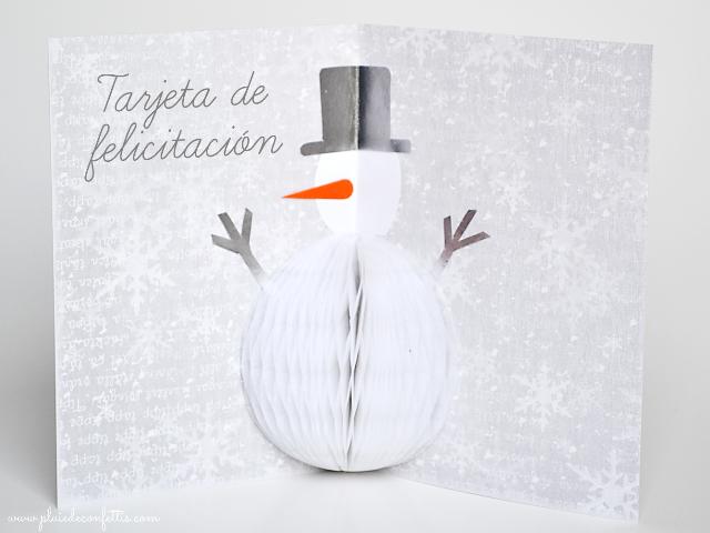 DIY-tarjeta-felicitacion-Navidad-muñeco-de-nieve-3