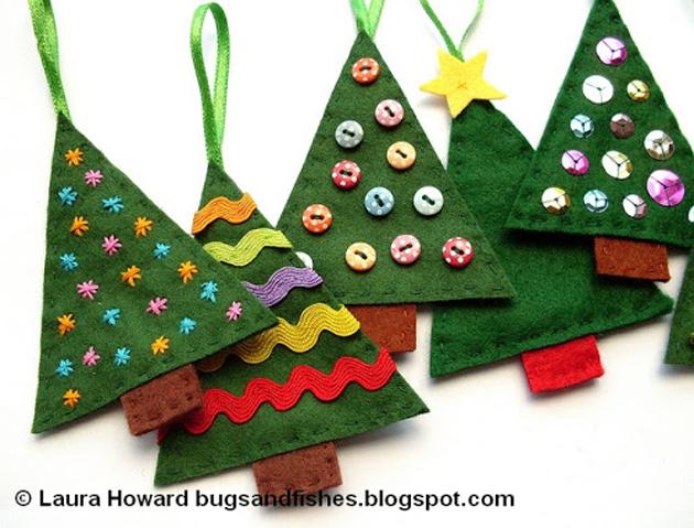 ornamentos arbol navidad fieltro - Arbol De Navidad De Tela