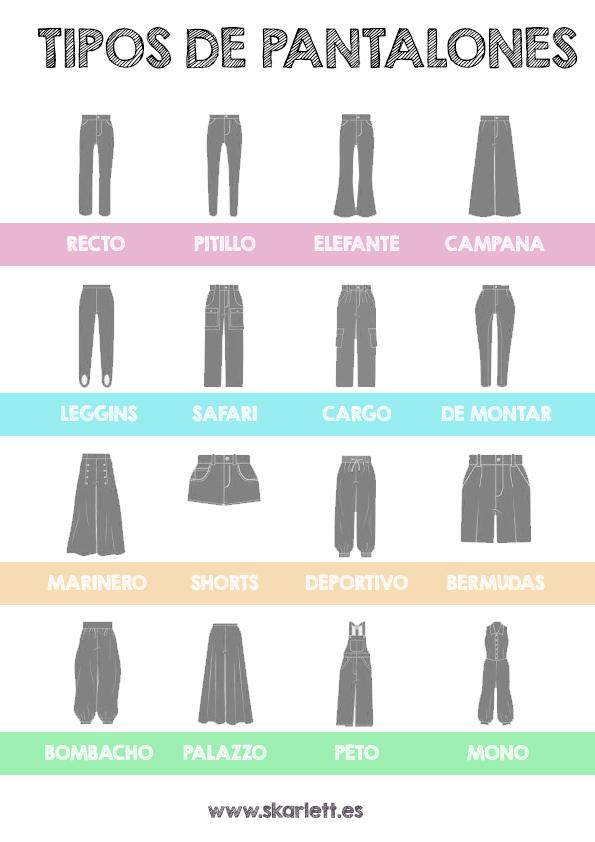 Diseño de moda / Tipos básicos de pantalón. Ficha descargable ...