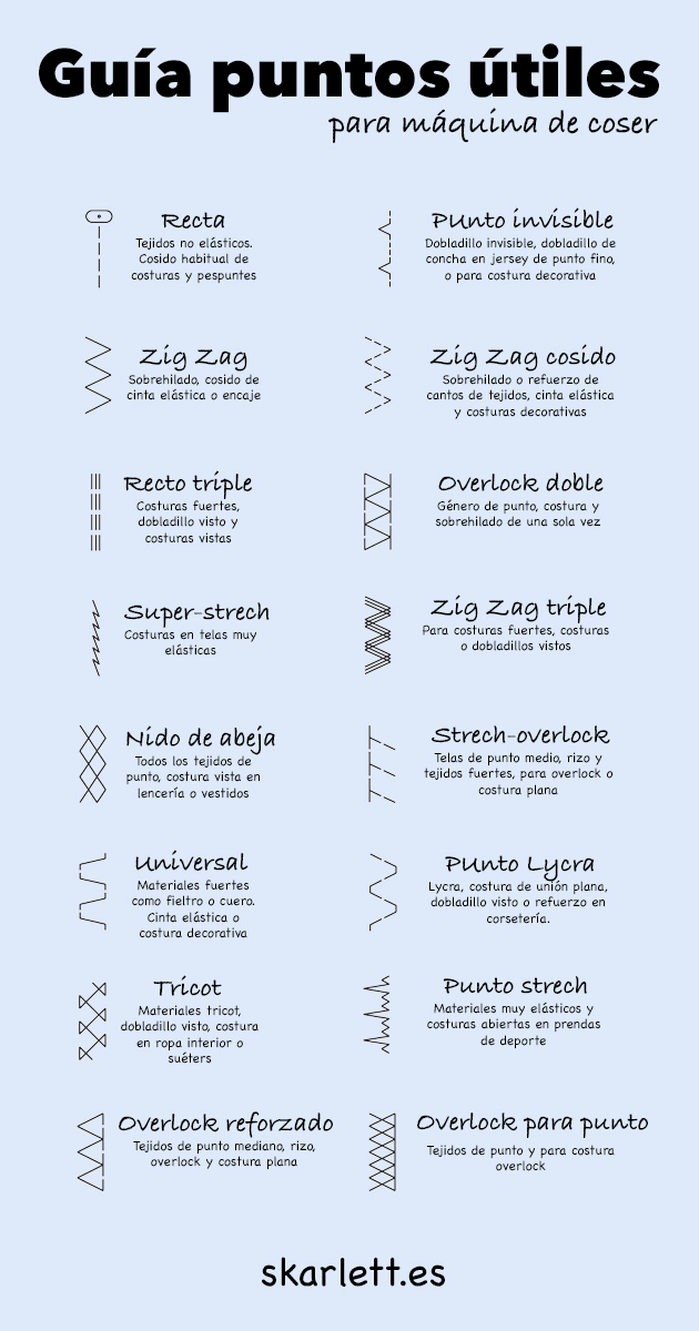 Guía de puntadas para máquina de coser - Skarlett Costura
