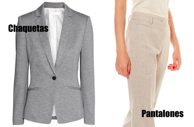 chaqueta gris y pantalon color claro ejemplos de prendas con bolsillos ribeteados