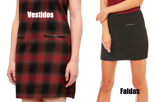 vestido tartan y falda corta negra con bolsillos ribeteados